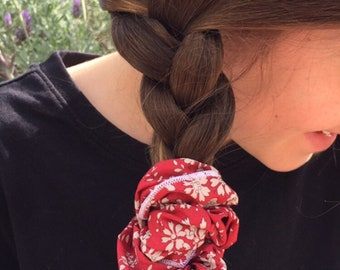 SCRUNCHIE made in Liberty Fabric - hair accessories for women and children. Liberty print Capel B (Red) one