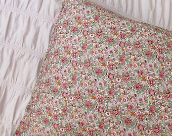 Single LUXE LIBERTY PILLOWCASE Made with Liberty Fabrics - Amelie F (Pink) Standard Size