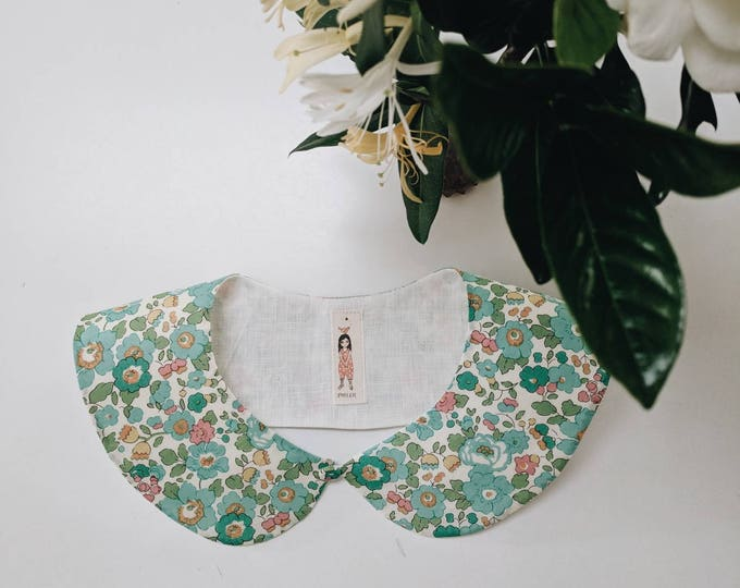LIBERTY PETER PAN style Collar Liberty Art Fabric Collar Peter pan Collar Betsy D (green) Children and Women's sizes