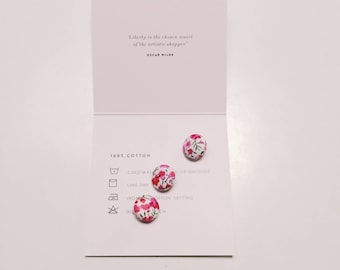 LIBERTY FABRIC BUTTONS (set of 3) Liberty Fabric Covered buttons Approx. 1.2cm diameter Liberty print Phoebe H (pink)