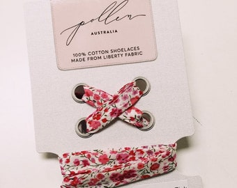SHOELACES made in Liberty Fabric in adult and children's sizes - PHOEBE H (pink)