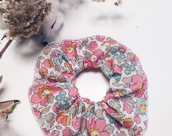 SCRUNCHIE made in Liberty Fabric - hair accessories for women and children. Liberty print Betsy 19B (Pink) one