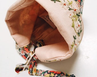 COCO BABY BONNET // With Brim; vintage style baby hat constructed in Liberty Fabric, lined in Linen; hand embroidered detail
