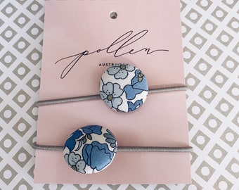 BUTTON HAIR TIES // Constructed from Liberty Fabric Tana Lawn // set of two (2) // Liberty print Poppy+Daisy 19b (blue)