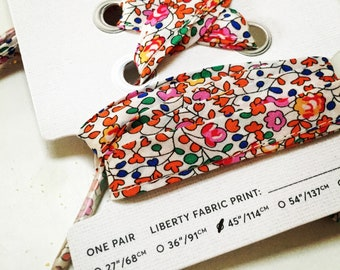 LIBERTY FABRIC SHOELACES // Made with Liberty Fabric in adult and children's sizes  - Eloise A (Orange)