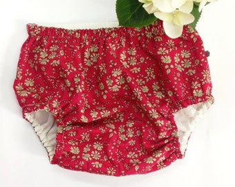 ROSA BLOOMERS - Diaper cover / Nappy cover Constructed from Liberty Art Cotton Tana Lawn CAPEL F (red)