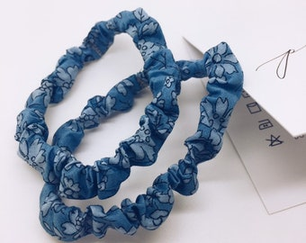 PETITE SCRUNCHIE (set of 2) made in Liberty Fabric - hair accessories for women and children. Liberty print CAPEL C (blue)