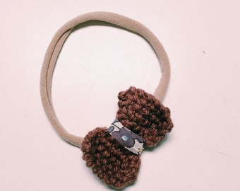 BOW-PEEP Knitted Bow Hairband or Clip. Hair Accessories.