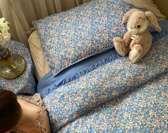 BEDDING Made with Liberty Fabric Tana Lawn // Frill Edged Duvet Cover // Single W140cm x L210cm