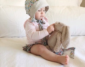 COCO BABY BONNET vintage style baby hat in Liberty Art tana lawn fabric Betsy P