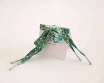 LIBERTY PRINT SHOELACES in adult and children's sizes - Donna Leigh D (green)