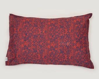 Single LUXE LIBERTY PILLOWCASE // Made with Liberty Fabrics Tana Lawn// Liberty print Strawberry Meadows (Red) // Standard Size
