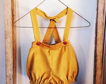 MAPLE SUSPENDER PANTS in Mustard Linen- Children's Unisex Suspender Bloomers.