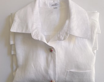 Women's white linen Shirt with Button's covered with Liberty Tana Lawn