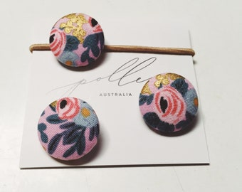 Rifle Paper Co. FABRIC BUTTON Hair-ties Constructed from 'Rosa -violet' cotton fabric - set of three (3)