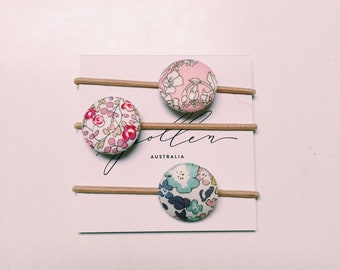 LIBERTY BUTTON Hair-ties Constructed from Liberty Art Cotton Tana Lawn set of three (3)