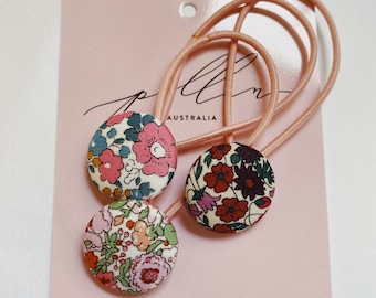 BUTTON HAIR TIES // Constructed from Liberty Fabric Cotton Tana Lawn // set of three (3) // Liberty print Betsy Ann E, Amelie F, Petal+Bud