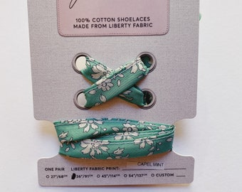 LIBERTY FABRIC SHOELACES // Made with Liberty Fabric in adult and children's sizes Capel Mint