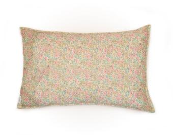 Single LUXE LIBERTY PILLOWCASE // Made with Liberty Fabric Tana Lawn // Liberty print Poppy+Daisy B (Peach/Lemon) // Standard Size