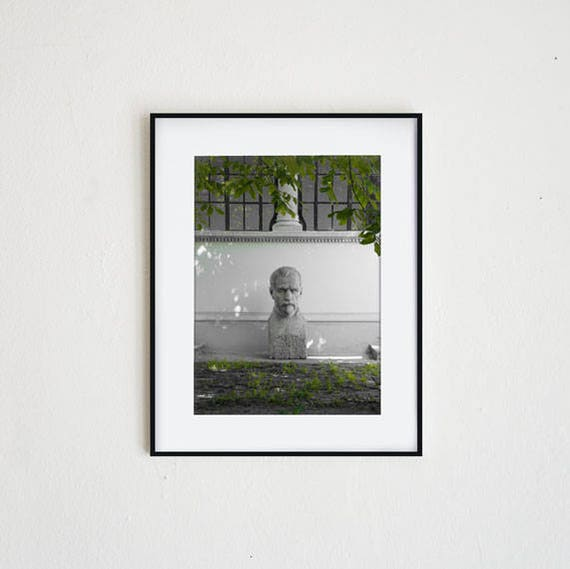 BIG HEAD No  1 | instant download, printable wall art, modern photography,  statue, sculpture, garden, minimal, simple, black & white