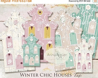 SALE 40% OFF - Winter Chic Houses TAGS - Digital Collage Houses - Home Decors - Collage Houses - Shabby Chic Collage Houses - Nordic Style T