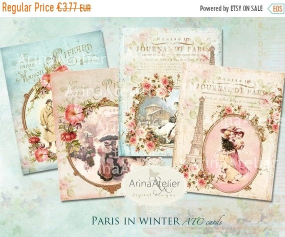 SALE 40% OFF Paris in Winter ATC Cards Christmas Cards | Etsy