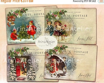 SALE 40% OFF - Digital Cards Christmas Post Cards -Digital Tags - set of 4 - 3,5x5 inches ATC cards - digital download