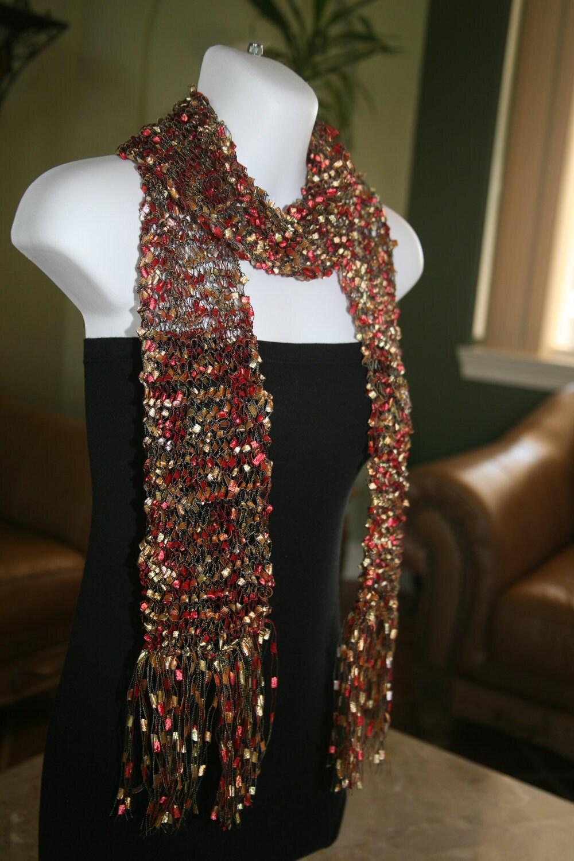 Ribbon Scarf Handmade Handknit Trellis Scarves Metallic