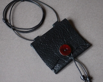 Talisman pouch • small neck pouch in shiny black leather • crystal pouch