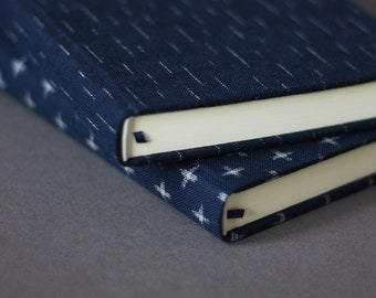 Indigo journals • A5 journal with blank pages • blue Japanese kasuri print fabric