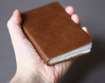 Pocket watercolour sketchbook • small leatherbound journal • hot press paper by St Cuthberts Mill UK