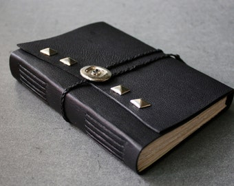 77 - leather journal with upcycled pyramid studs