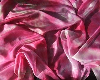 Hand Dyed Silk Habotai Scarf Blank Raspberry Ice Sorbet XL