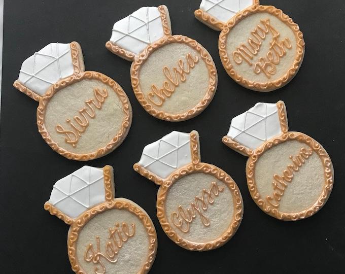 Fancy Engagement Ring Cookies GOLD-2 Dozen