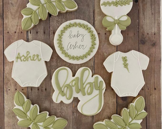 RESERVED Baby Shower Cookies-Greenery Theme/2 Dozen