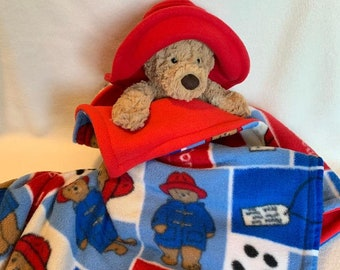 """Paddington Bear Fleece BLANKET with 17"""" BABY Safe Bumbly Bear and Red Floppy Hat ~ OOAK"""