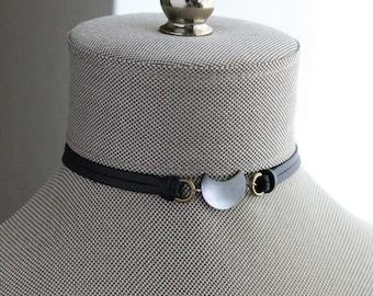 Black Tahiti Pearl Half Moon Leather Choker and/or Bracelet
