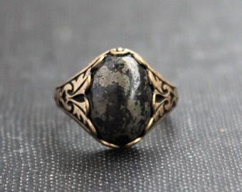 Pyrite Ring. Antique Silver or Antique Brass