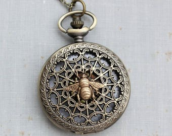 Bee Pocket Watch Necklace in Antique Brass