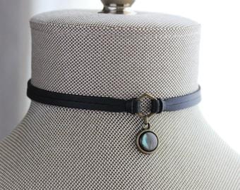 Gemstone Leather Choker. 17 Gemstone options. 14 leather colors.
