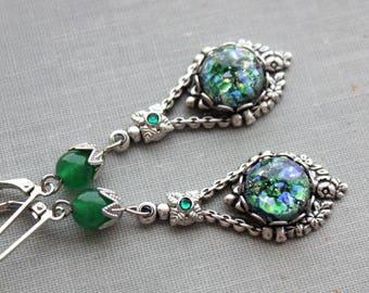 Green Opal Earrings. Jade.