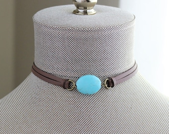 Turquoise Leather Choker. You choose leather color
