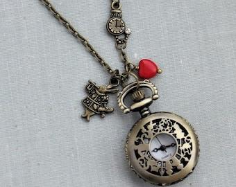 Alice in Wonderland Pocket Watch Necklace in Antique Brass