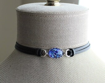 Blue Opal Leather Choker. Choose from 9 leather colors
