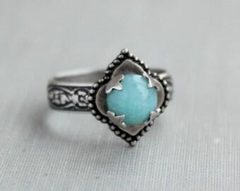 Amazonite Ring. Quatrefoil Ring. Adjustable