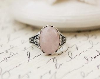 Rose Quartz Ring. Antique Silver or Antique Brass