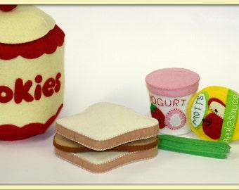 Felt Play Food - Applesauce and Yogurt Containers for Imaginative Play - Handmade
