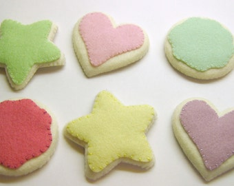 Wool Felt Play Food - Sugar Cookies with Frosting