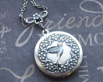 Hummingbird Locket Necklace Silver Locket Jewelry Womens Locket  Silver Locket Bridesmaid Locket Wedding Jewelry Picture Photo Locket Gift