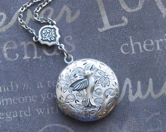Hummingbird Locket Necklace Silver Locket Jewelry Womens Locket  Silver Locket Bridesmaid Locket Wedding Jewelry Picture Photo Locket Gift